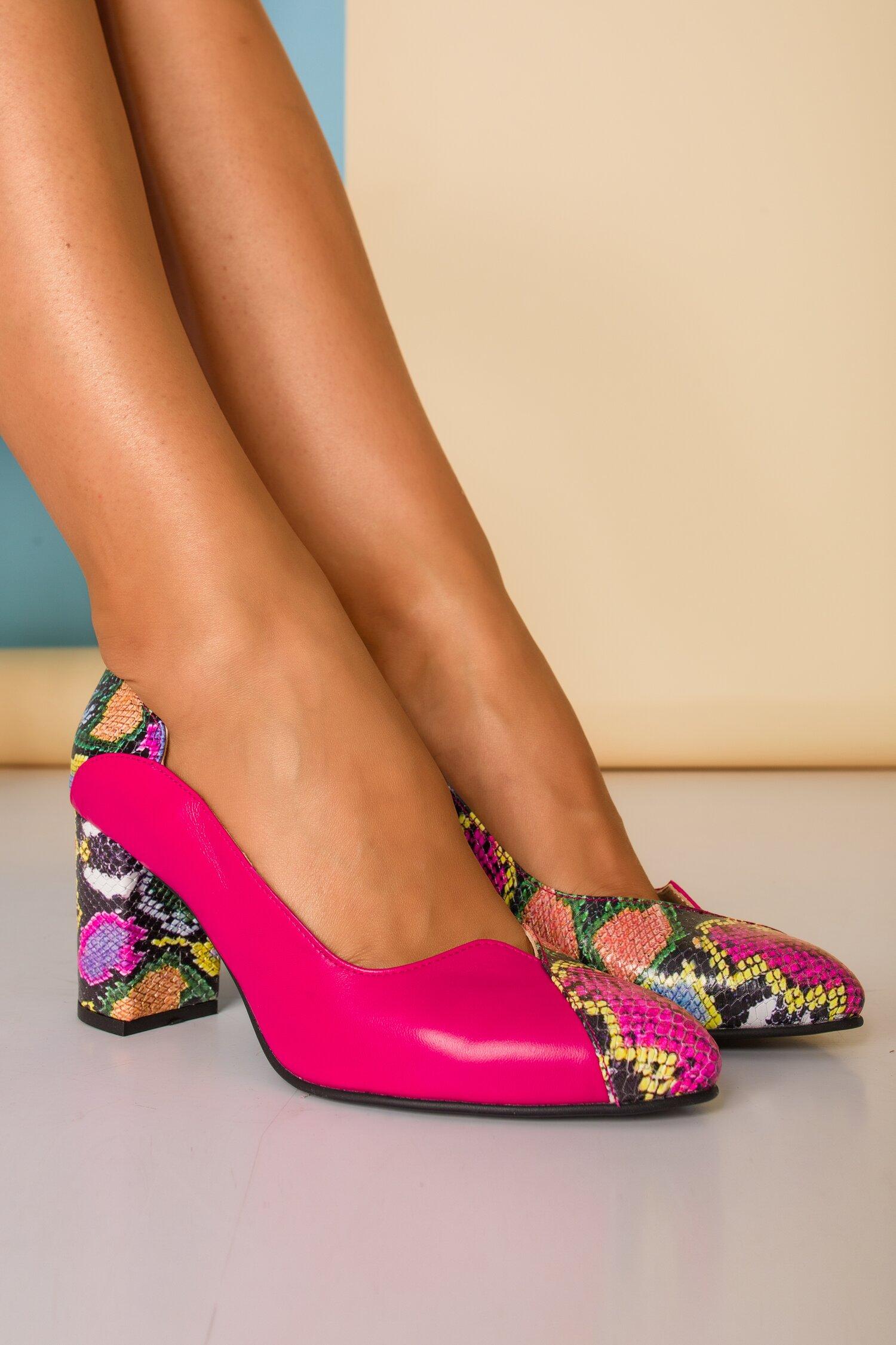 Pantofi Greenary office fucsia cu imprimeuri imagine