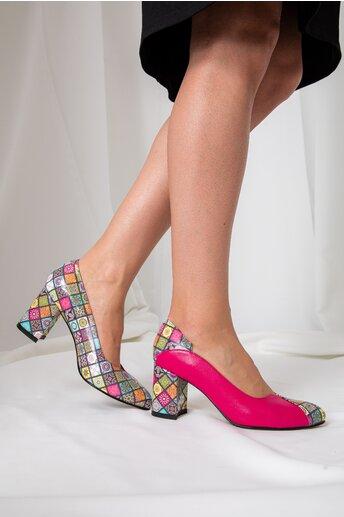 Pantofi Greenary office fucsia cu imprimeuri mandala