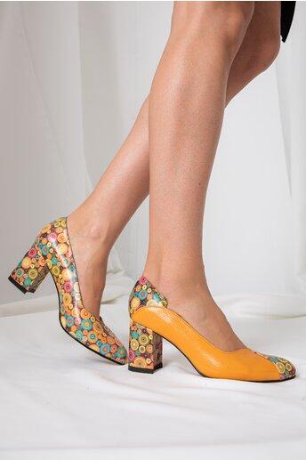 Pantofi Greenary office galben mustar cu imprimeuri multicolore
