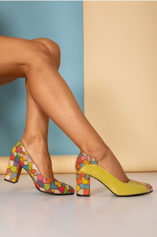Pantofi Greenary office galbeni din piele lacuita cu imprimeuri