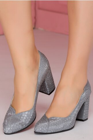 Pantofi gri cu insertii stralucitoare reflectorizante