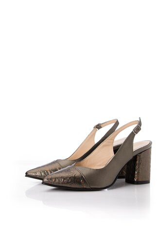 Pantofi in nuanta metalizata cu decupaj la calcai cu imprimeu leopard pe varf si toc