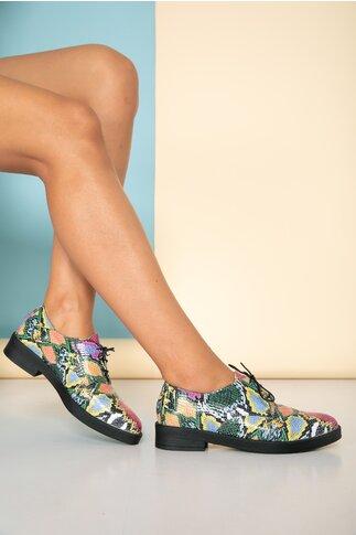Pantofi josi multicolori cu design snake print