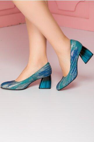 Pantofi Kalya albastri cu imprimeu  turcoaz pe toc