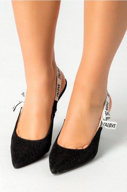 Pantofi Love negri cu sclipici