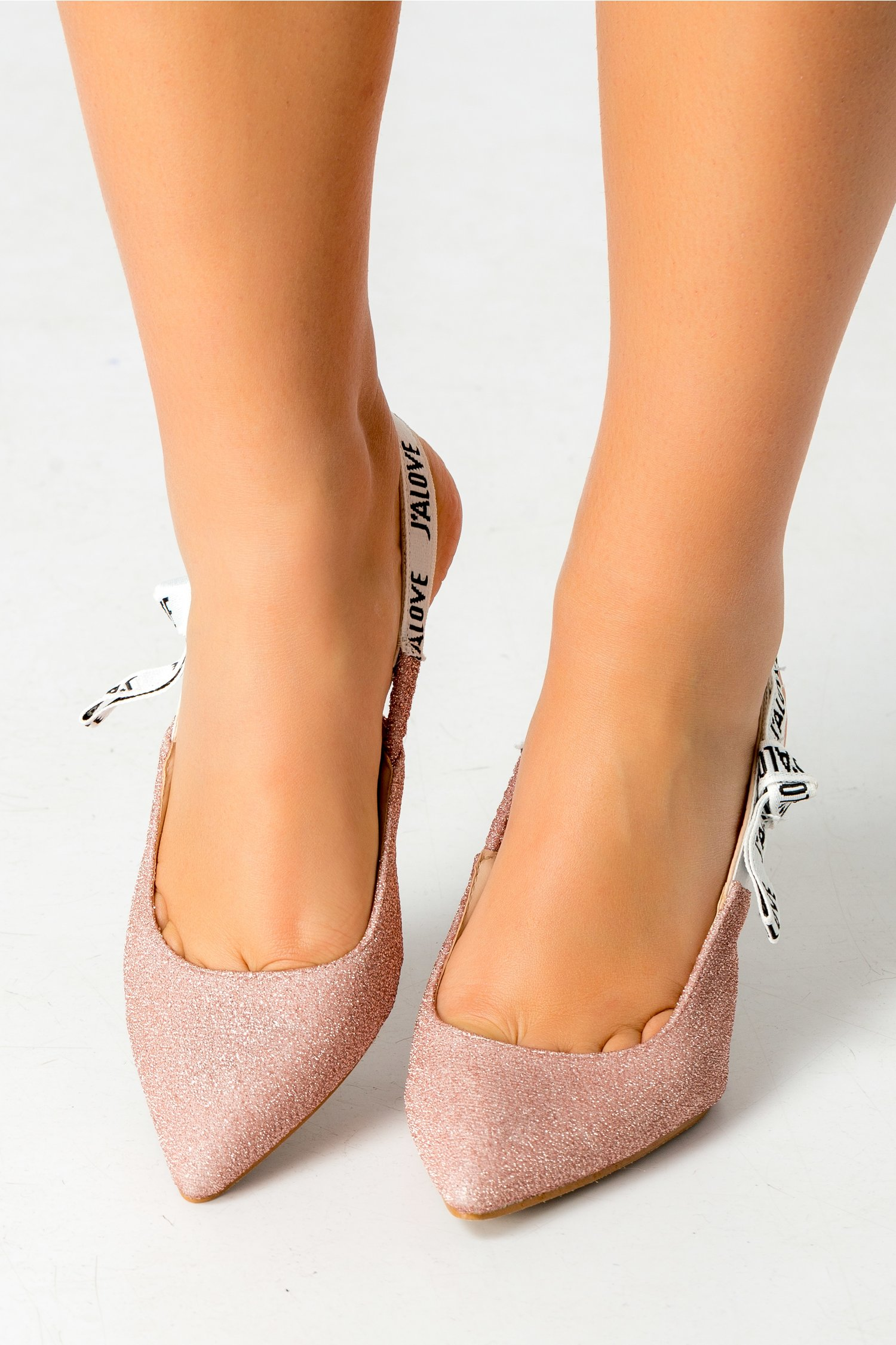 Pantofi Love roz cu sclipici