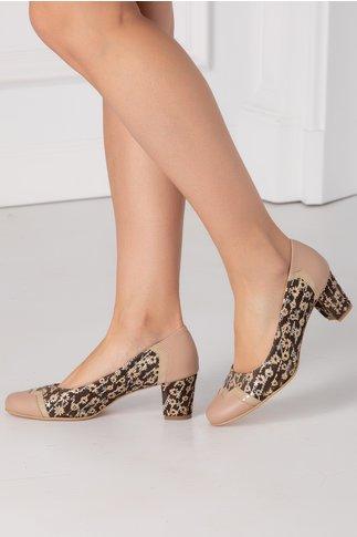 Pantofi maro cu imprimeuri florale si detalii bej