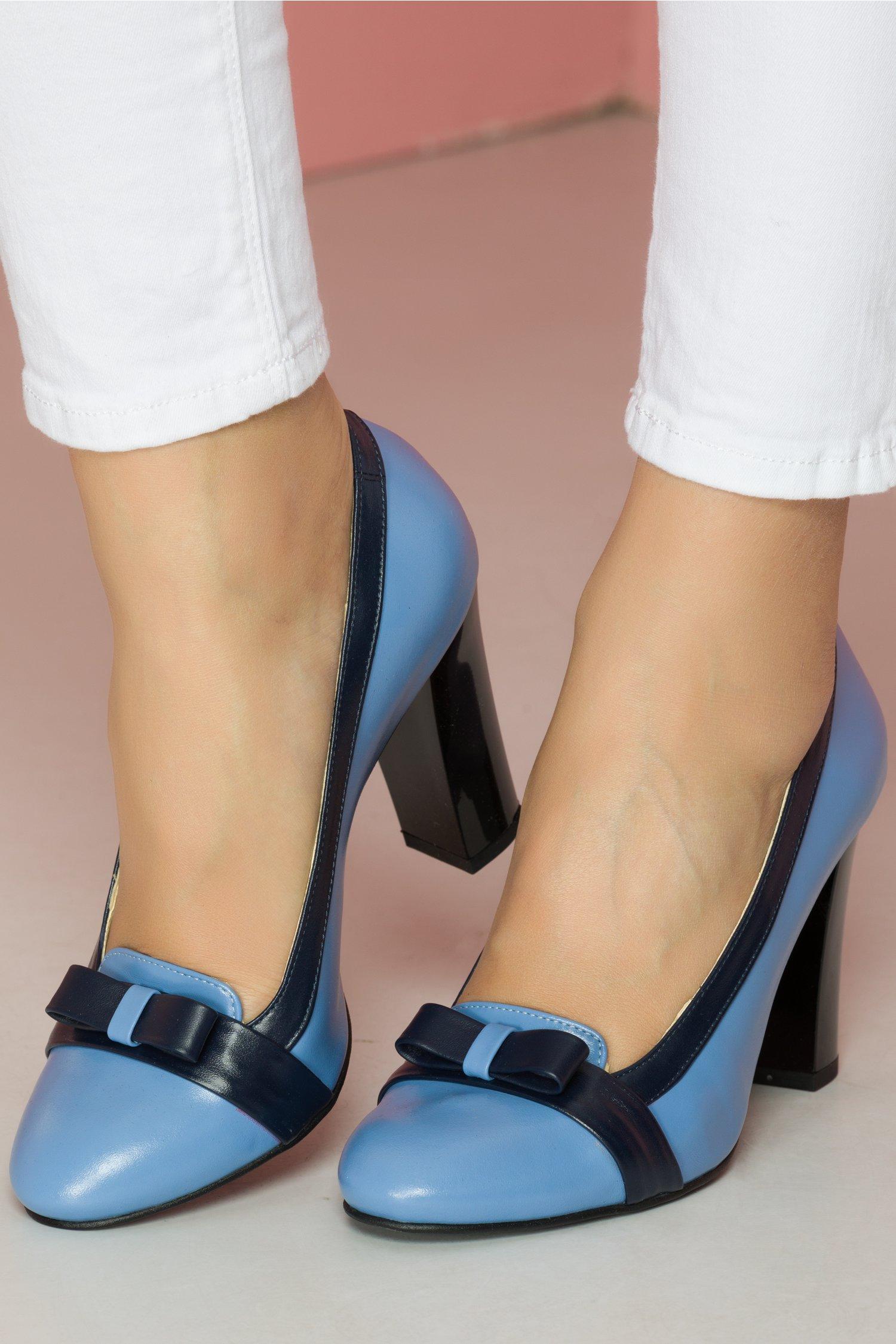 Pantofi Mary albastru deschis cu fundita