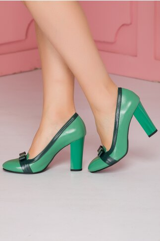 Pantofi Mary verzi cu fundita