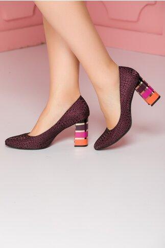 Pantofi mov cu imprimeu lucios cu toc in dungi multicolore