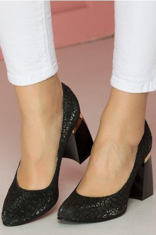 Pantofi negri animal print cu toc lacuit usor rotunjit