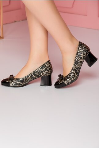 Pantofi negri cu imprimeu auriu si fundita dubla in fata