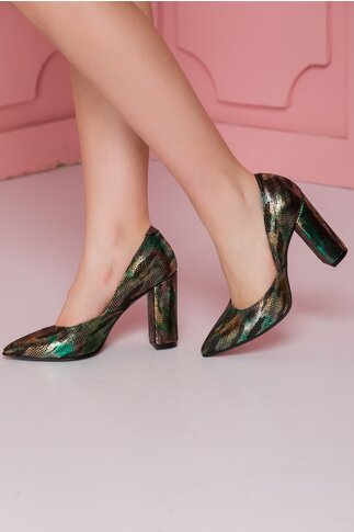 Pantofi negri cu imprimeu verde metalizat si design petrecut in laterale