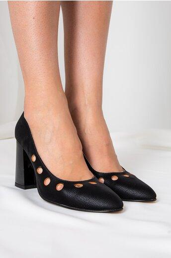 Pantofi negri cu perforatii orange