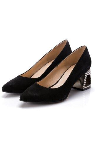 Pantofi negri din piele intoarsa cu design deosebit