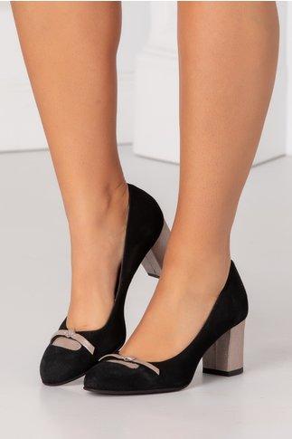 Pantofi negri din piele intoarsa cu funda in fata si toc bej sidefat