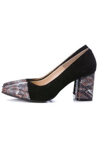 Pantofi negri din piele intoarsa cu imprimeu piele de sarpe