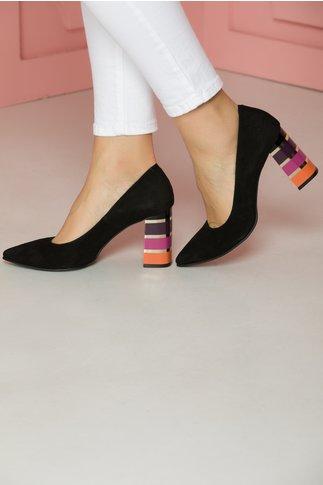 Pantofi negri din piele intoarsa cu toc special