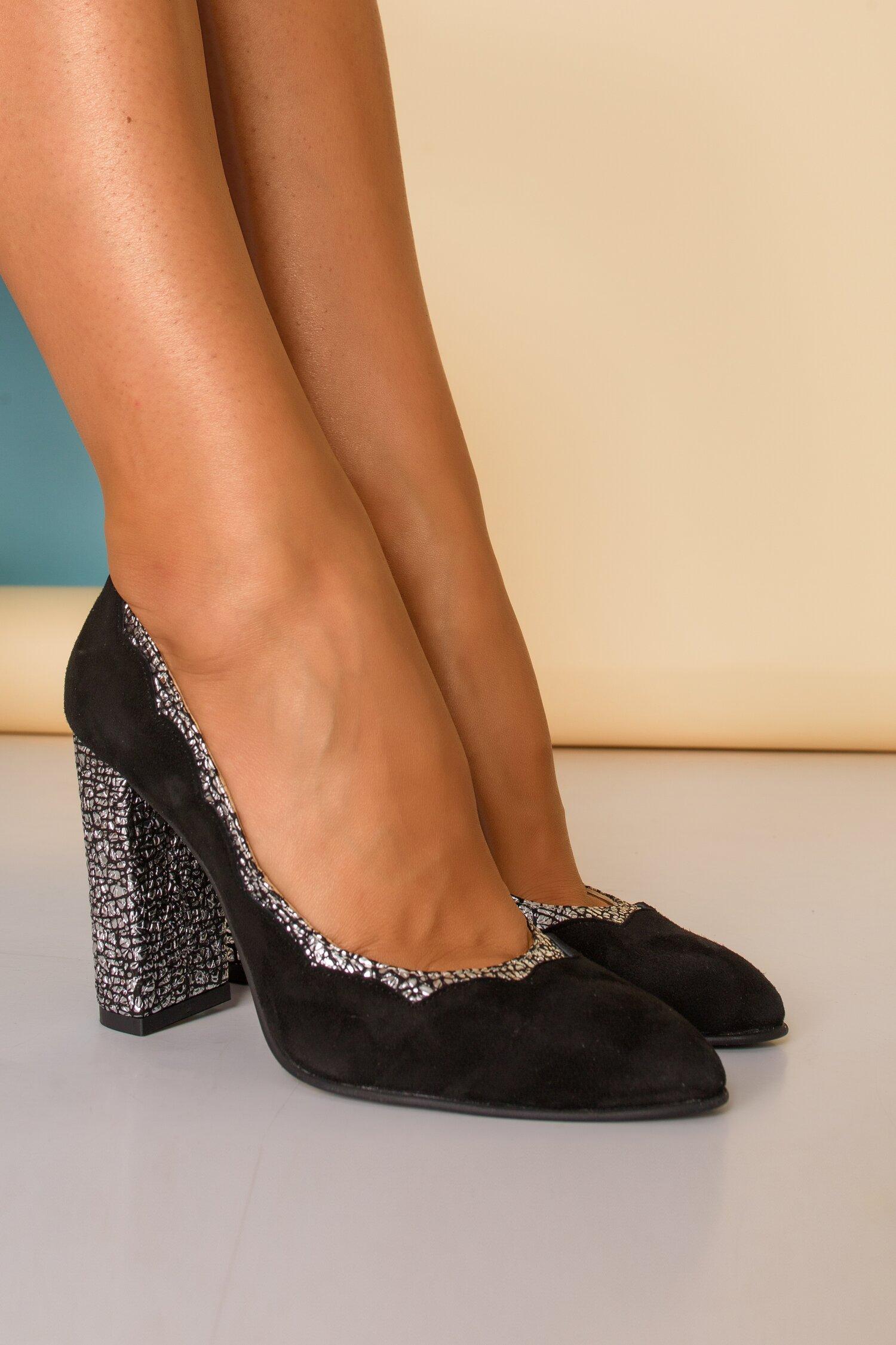 Pantofi negri eleganti cu insertii argintii imagine