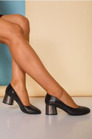Pantofi negri sidefati cu toc gros