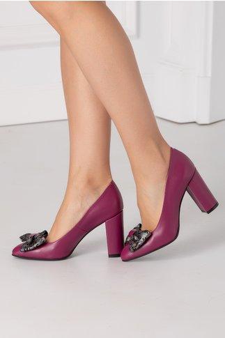 Pantofi Nelly magenta  cu funda in fata