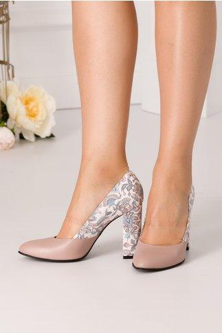 Pantofi nude cu imprimeu floral la spate