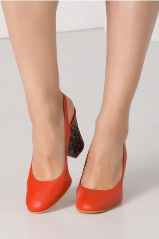 Pantofi orange cu insertii multicolore pe toc