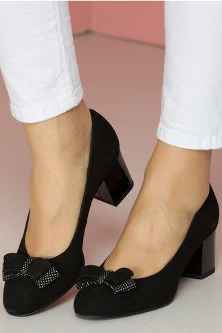 Pantofi Osir negri cu toc lucios si fundita cu buline