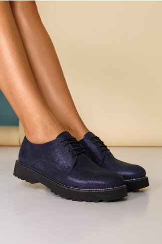 Pantofi Oxford bleumarin sidefat cu sireturi