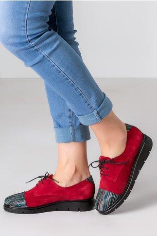 Pantofi Oxford bordo cu imprimeuri multicolore