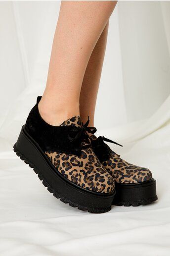 Pantofi oxford cu animal print si talpa inalta
