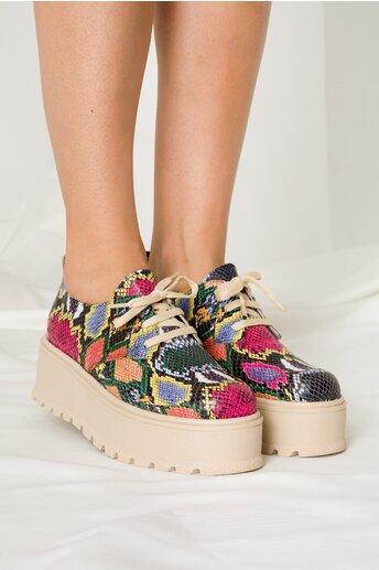 Pantofi oxford cu print snake multicolor