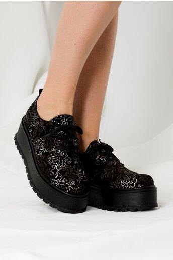Pantofi oxford negri cu imprimeuri florale gri