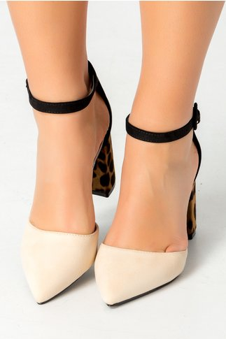 Pantofi Pamy bej cu animal print