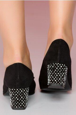 Pantofi Ranya negri cu aplicatie pe varf cu buline 3D