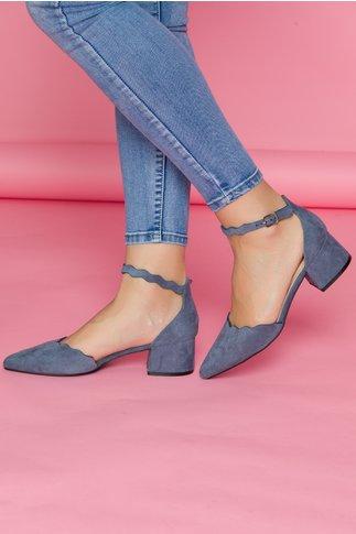 Pantofi Renaly albastri cu toc jos si bareta la glezna