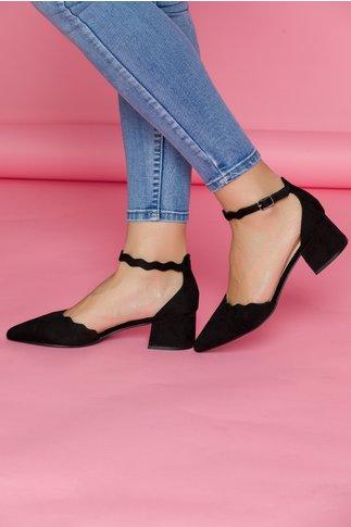 Pantofi Renaly negri cu toc jos si bareta la glezna