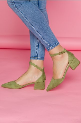Pantofi Renaly verzi cu toc jos si bareta la glezna