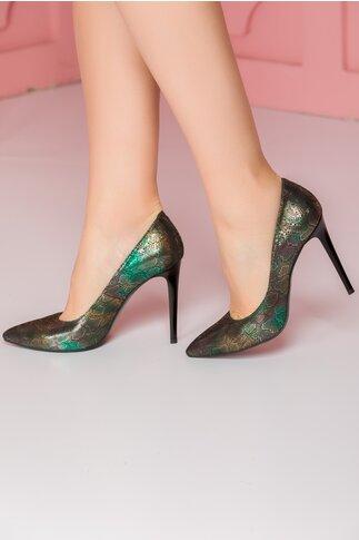 Pantofi Risse negri din piele cu insertii in nuante de verde si auriu
