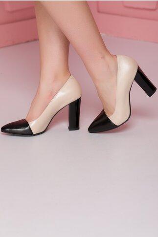 Pantofi Roda bej cu varful negru