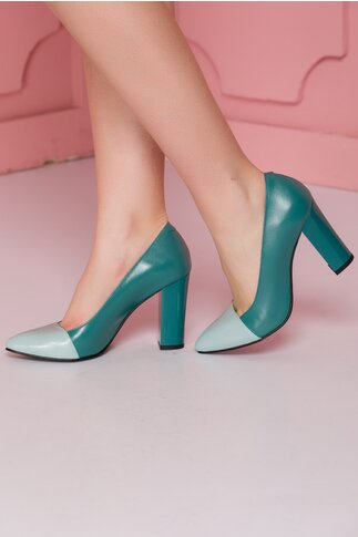 Pantofi Roda verzi cu varful verde pastelat
