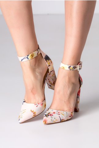 Pantofi rose cu imprimeu floral si bareta