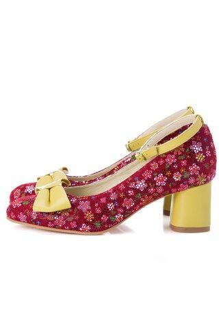 Pantofi rosii cu imprimeuri florale cu bareta si fundita galbene