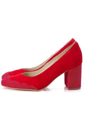 Pantofi rosii cu toc gros si imprimeu cu buline