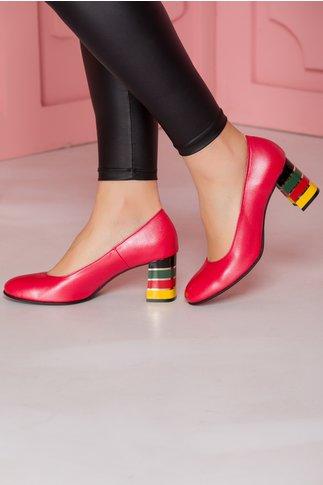 Pantofi rosii cu toc lacuit multicolor in dungi