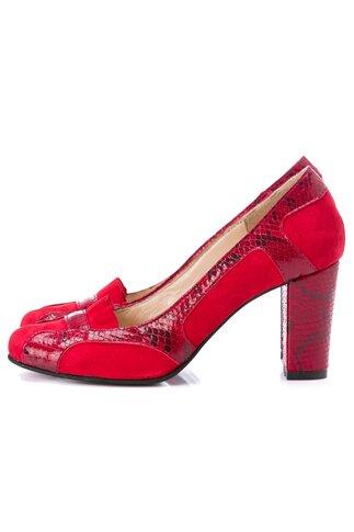 Pantofi rosii din piele intoarsa cu insertii snakeprint