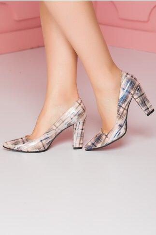 Pantofi roz pal cu imprimeu in dungi albastre si argintii cu toc gros