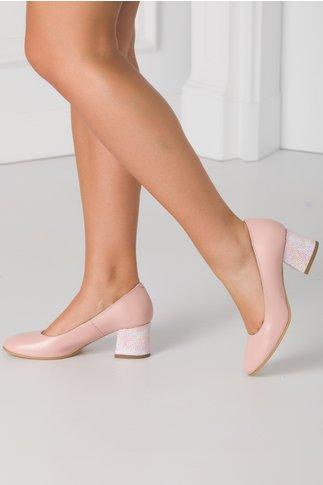 Pantofi roz prafuit cu imprimeu cu picatele