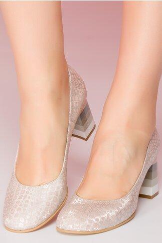 Pantofi roz prafuit cu imprimeu stralucitor si toc lacuit in dungi