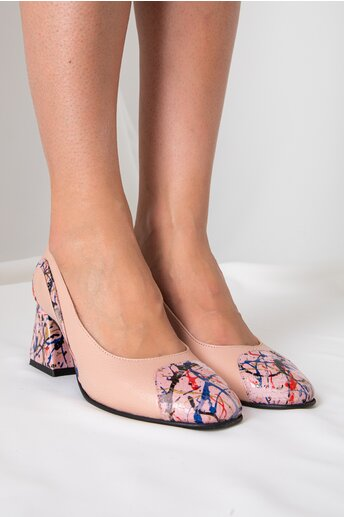 Pantofi roz pudra cu imprimeuri